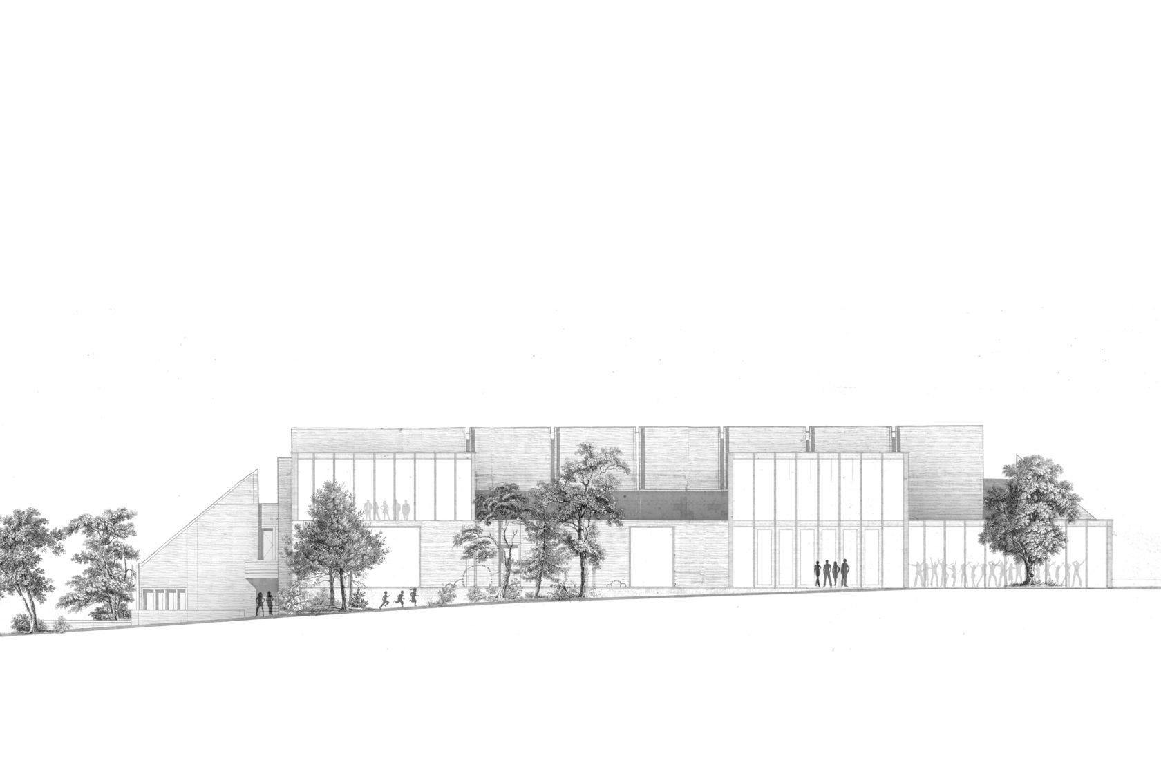 BCQ architecten & ARC - gevelbeeld OC Aalbeke