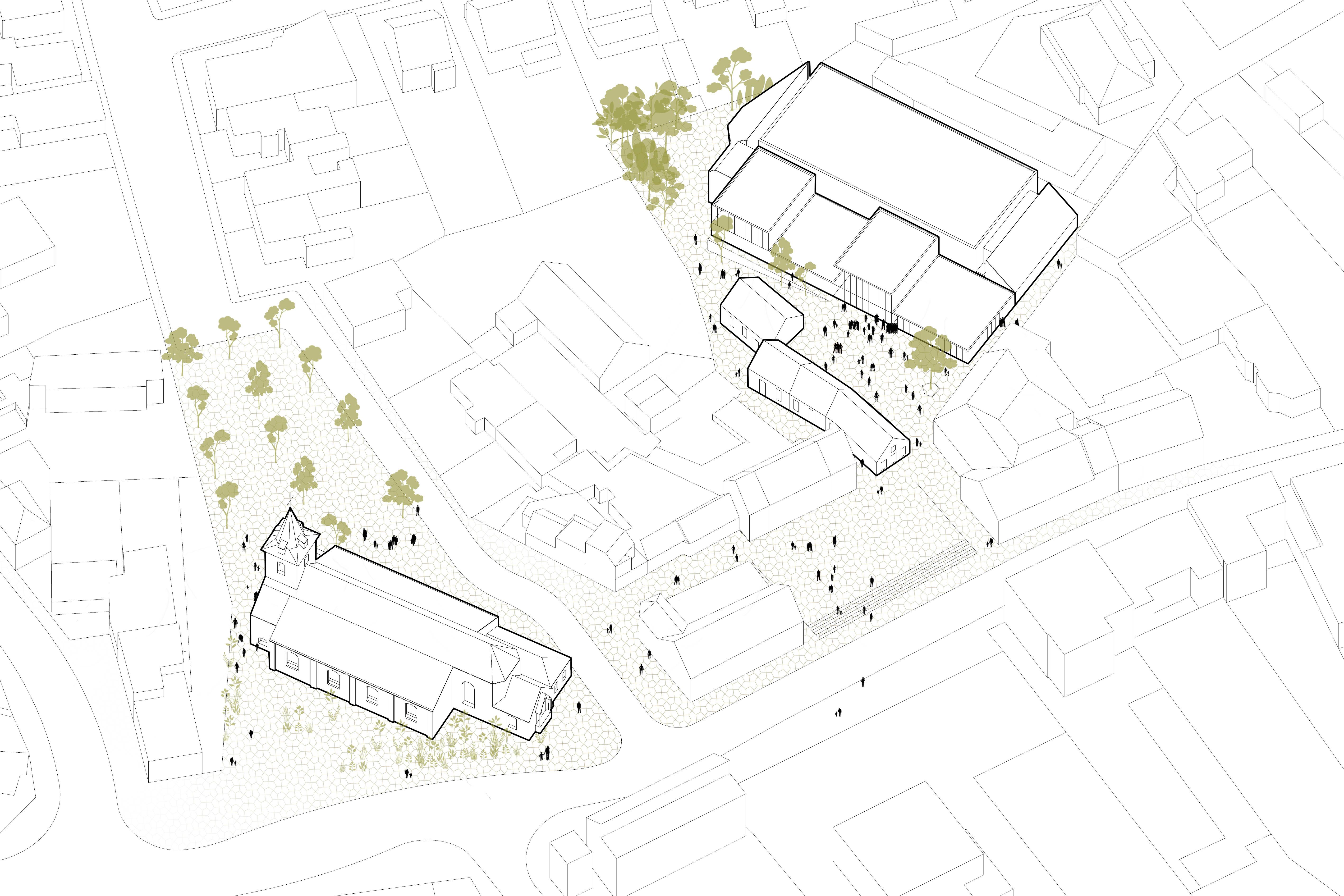 BCQ architecten & ARC - overzicht perspectief Aalbeke